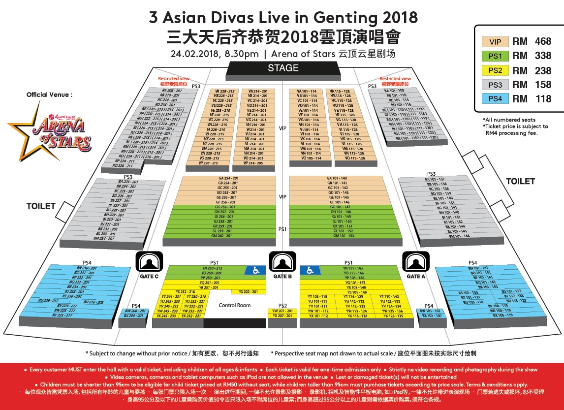 3 Asian Divas Live in Genting 2018 Seat Plan